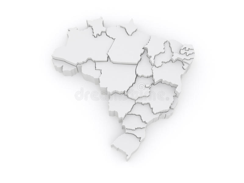 Trójwymiarowa mapa Brazylia. royalty ilustracja