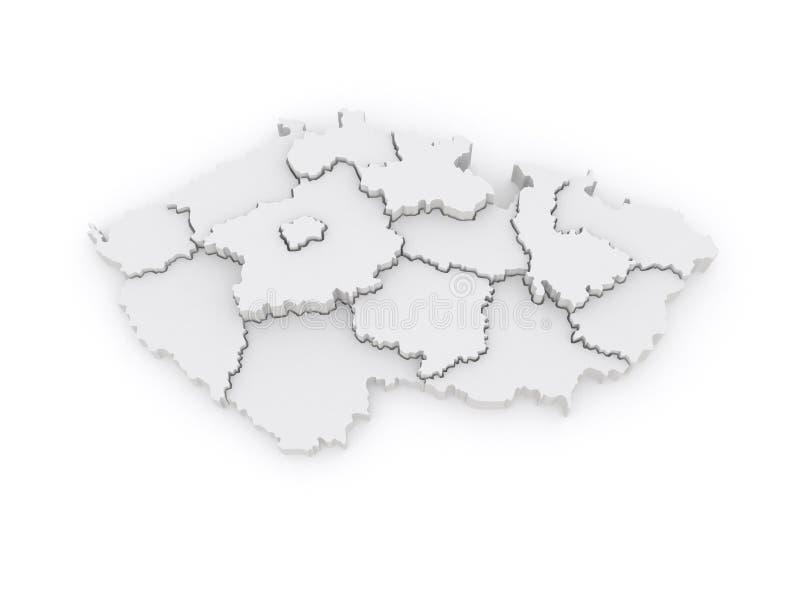 Trójwymiarowa mapa republika czech. ilustracja wektor