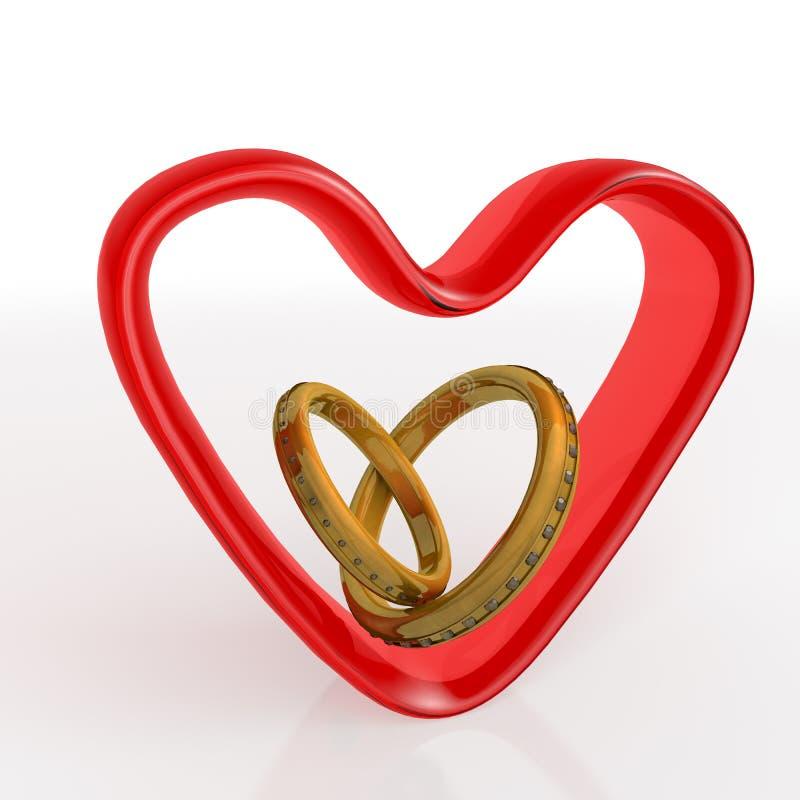 Trójwymiarowa serca i pierścionków para nad bielem dolina ilustracja wektor