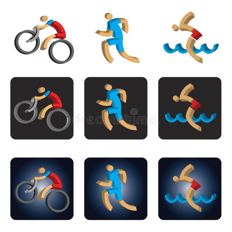 Trójwymiarowe Triathlon ikony ilustracja wektor
