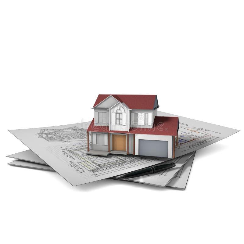 Trójwymiarowy dom na architektonicznym rysunku nad bielem ilustracja wektor