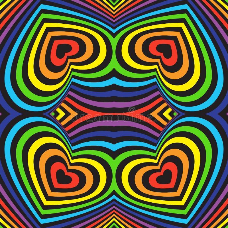 Trójwymiarowy wolumetryczny bezszwowy wzór kolorowa tęcza na czarnym tle wektor royalty ilustracja