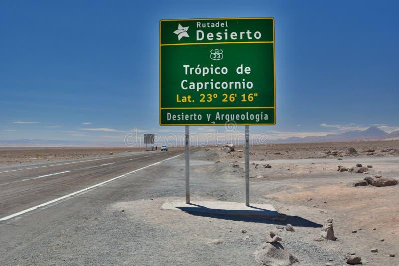 Trópico de la señal de tráfico del Capricornio San Pedro de Atacama Región de Antofagasta chile imágenes de archivo libres de regalías