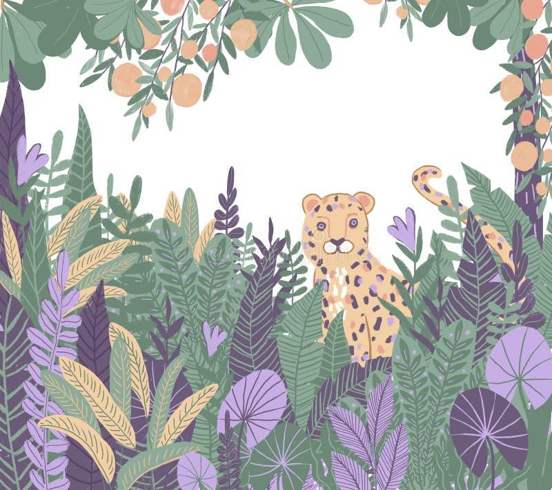 Trópicos exóticos Leopardo na selva Plantas e árvores tropicas ilustração royalty free