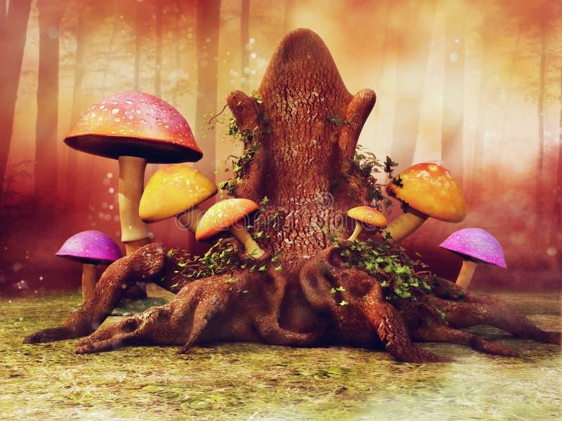 Trône d'arbre dans la forêt illustration de vecteur