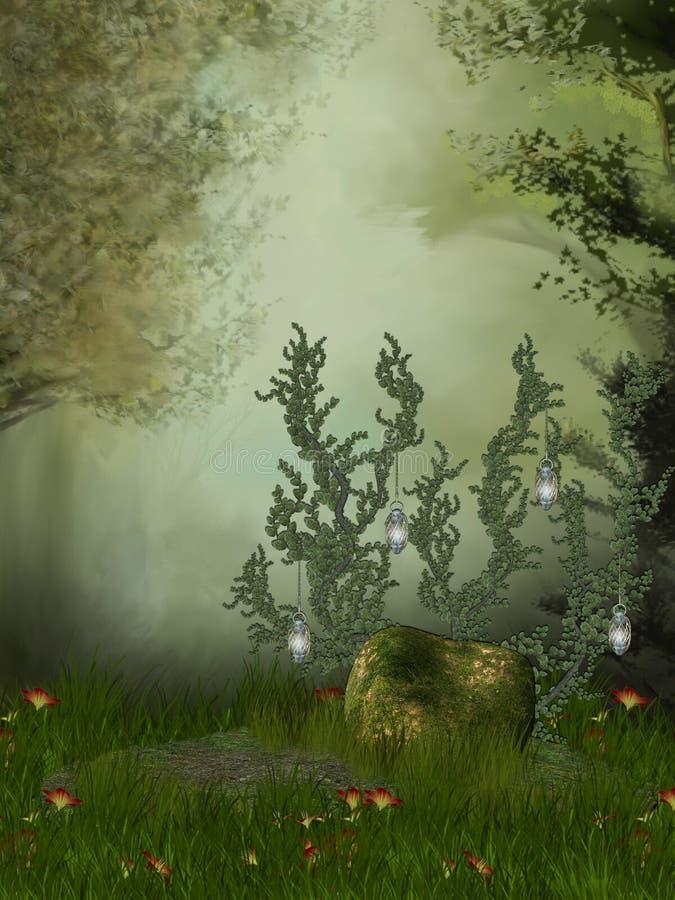 Trône dans la forêt illustration de vecteur