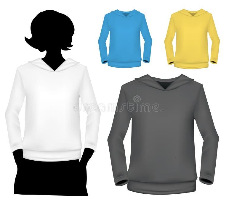 tröjor för silhouette för huvuddelflicka mänskliga s royaltyfri illustrationer