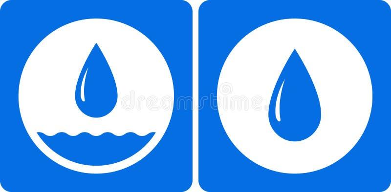 Tröpfchenikone des Wassers zwei lizenzfreie abbildung