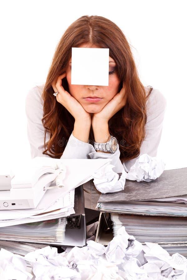 Trött affärskvinna arkivfoton