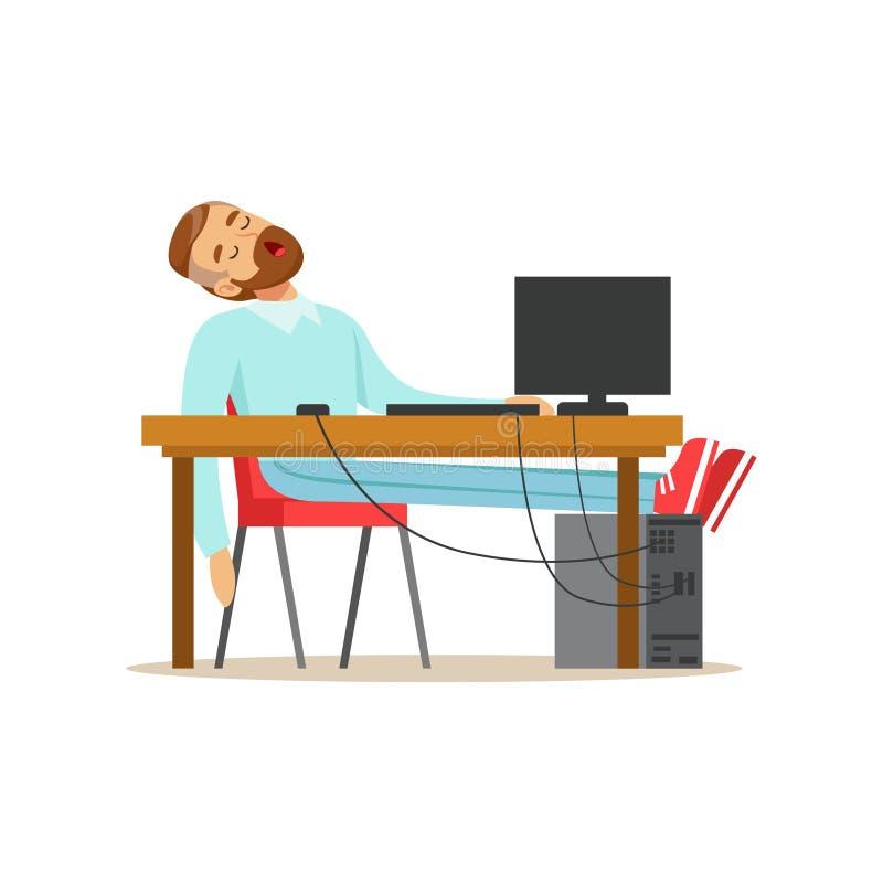 Trött affärsman som sover på hans stol i kontoret, utmattad illustration för vektor för kontorsarbetare avslappnande vektor illustrationer