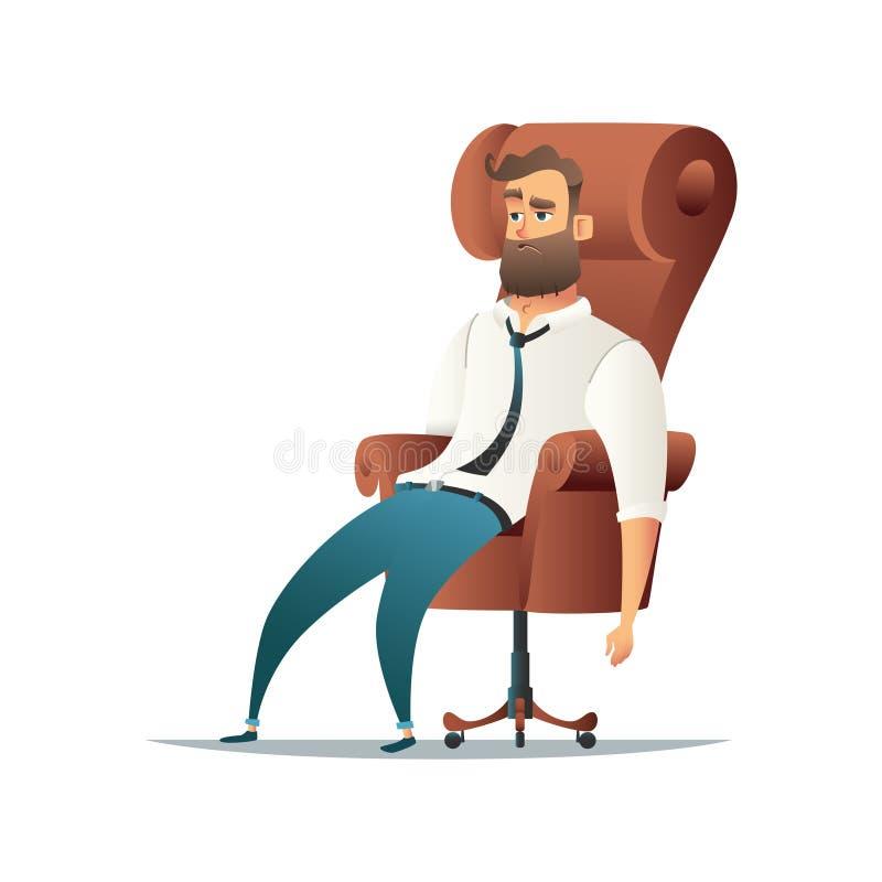 Trött affärsmansammanträde i stol Utmattat koppla av för för kontorsarbetare eller chef den främmande tecknad filmkatten flyr ill stock illustrationer