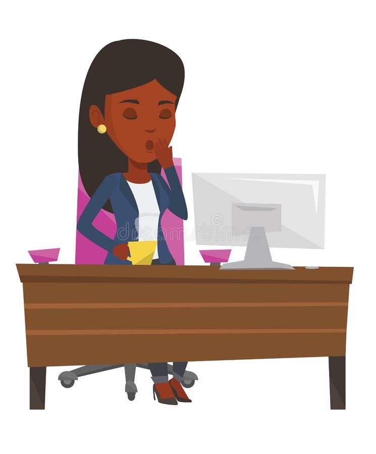 Trött anställd som i regeringsställning arbetar stock illustrationer