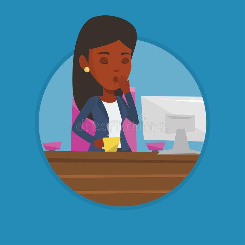 Trött anställd som i regeringsställning arbetar royaltyfri illustrationer