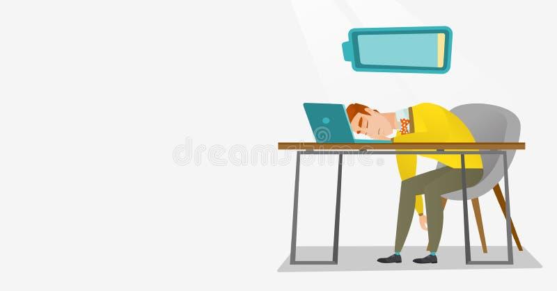 Trött anställd som sover på arbetsplatsen stock illustrationer