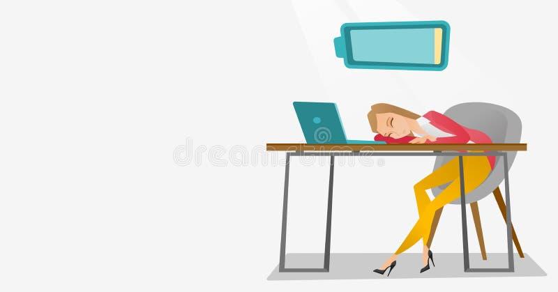 Trött anställd som sover på arbetsplatsen vektor illustrationer