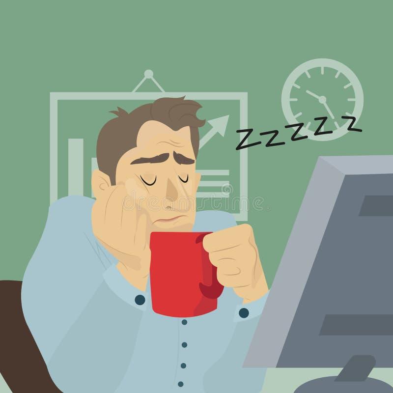 Trött anställd som sover på arbetsplatsen med koppen kaffe stock illustrationer