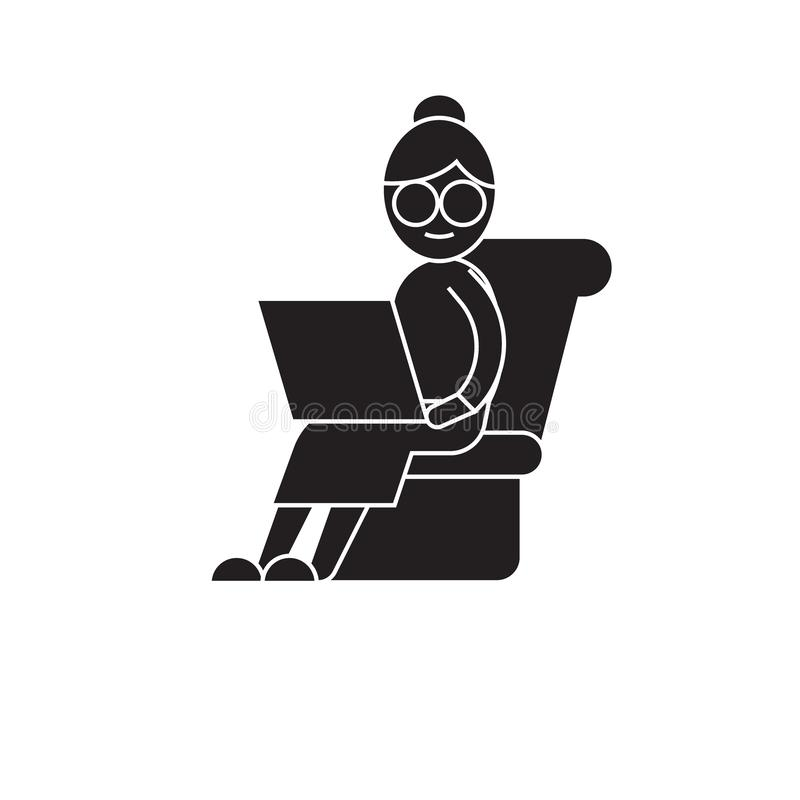 Trött arbetande svart vektorbegreppssymbol Trött arbetande plan illustration, tecken stock illustrationer