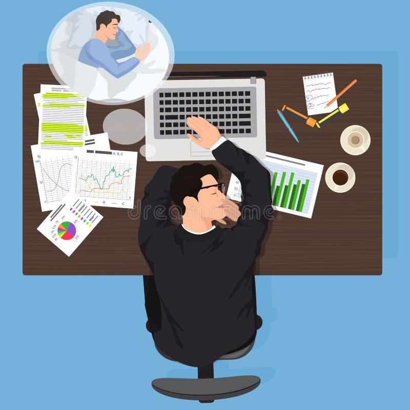 Trött arbetare för affärsman som sover på arbete Den utmattade kontorsmanarbetaren ser drömmar Trött man som tänker om säng royaltyfri illustrationer