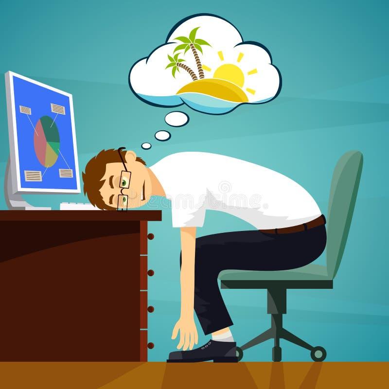 Trött arbetare i arbetsplatsen Drömma om semester materiel ve vektor illustrationer
