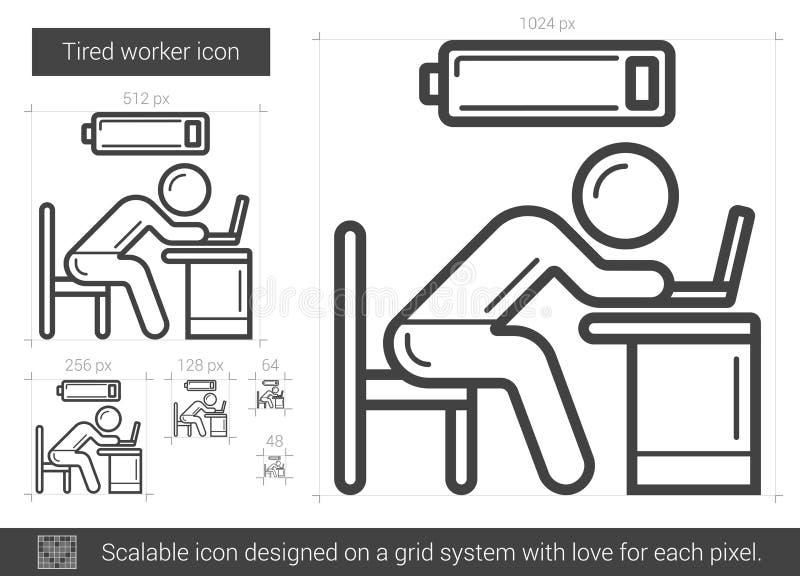 Trött arbetarlinje symbol stock illustrationer