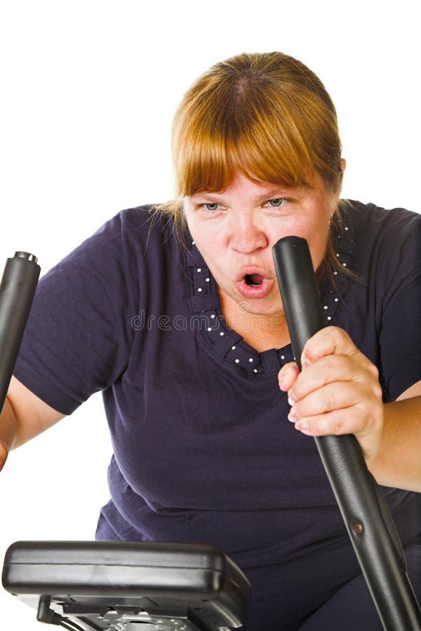 Trött fet kvinna arkivfoto