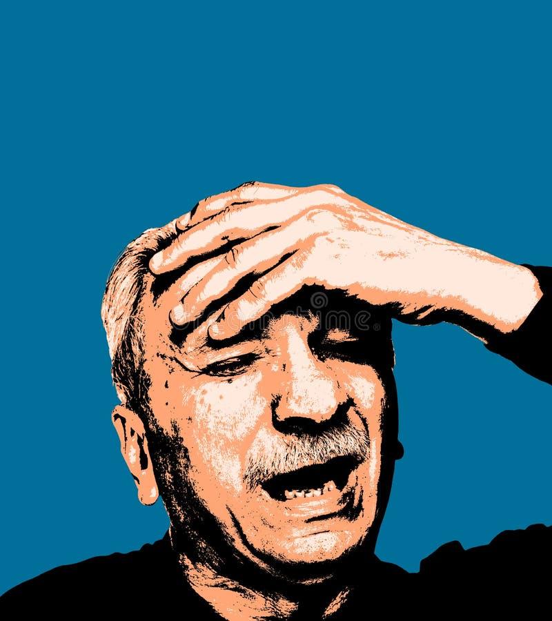 Trött gamal mankänsla och huvudvärk vektor illustrationer