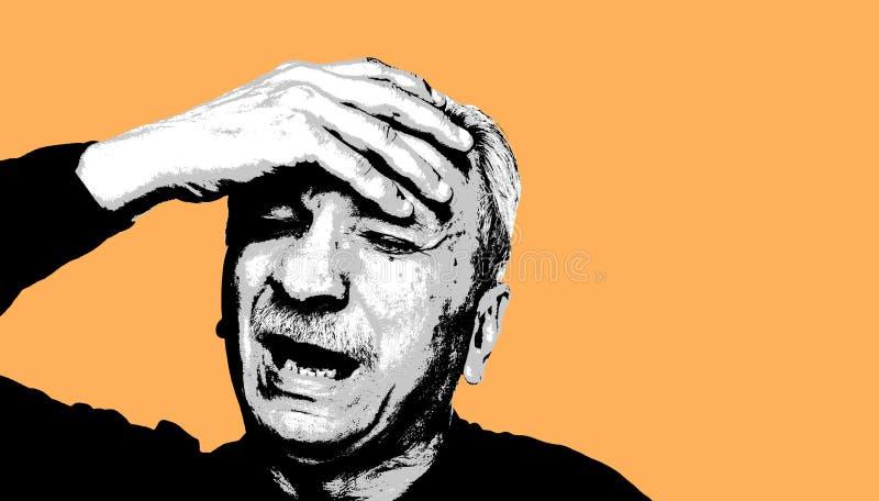Trött gamal mankänsla och huvudvärk stock illustrationer