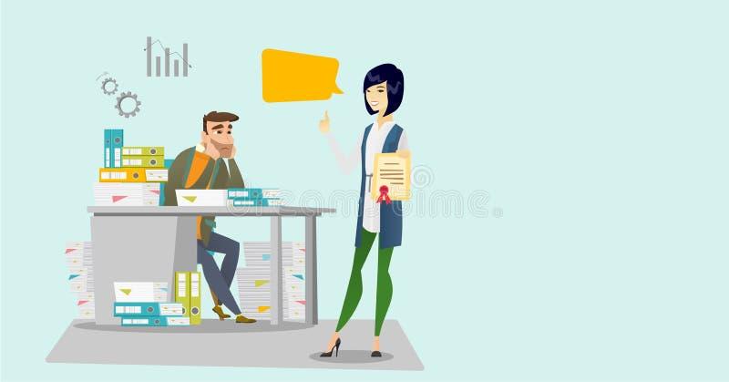 Trött kontorsarbetare och arbetsgivare med certifikatet stock illustrationer