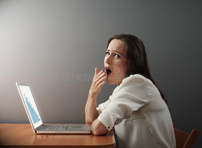 Trött kvinna som arbetar med bärbara datorn royaltyfri fotografi