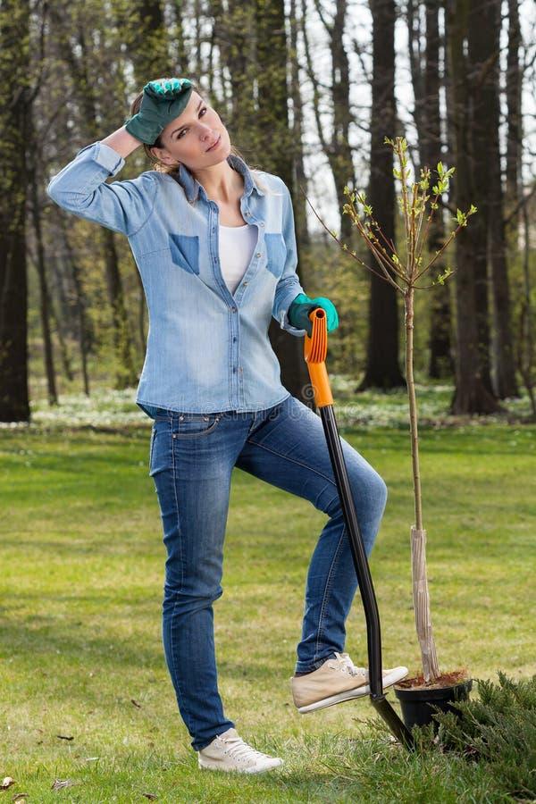 Trött kvinna som gräver i trädgård royaltyfri foto