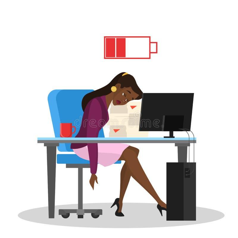 Trött kvinna som i regeringsställning sitter på tabellen uttr?kad arbetare stock illustrationer