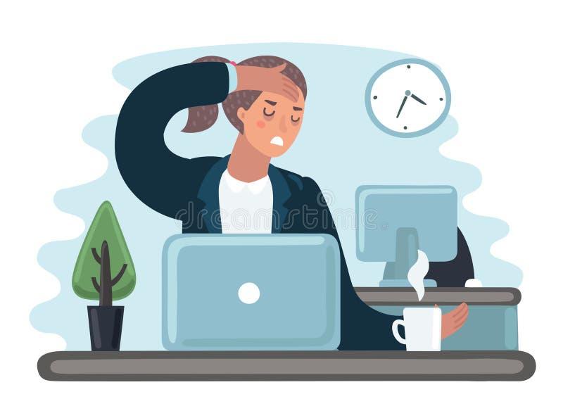 Trött ledsen upptagen gäspning för tecken för kvinna för kontorsarbetare Plan tecknad filmillustration för vektor royaltyfri illustrationer
