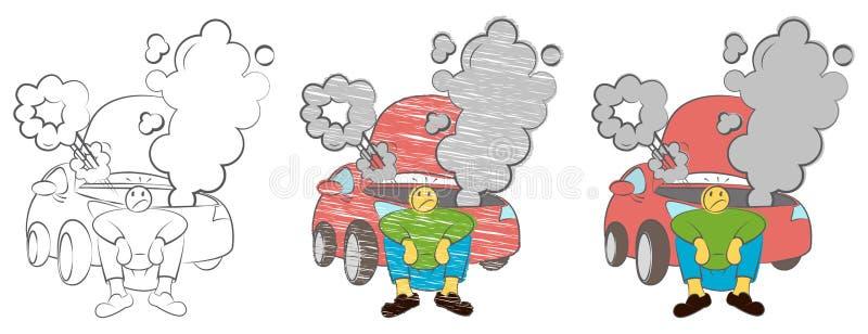 Trött man som väntar en hjälp, medan sitta nära den ilskna brutna bilen Affärsman som sitter bredvid en skadad bil Stressat mansa royaltyfri illustrationer