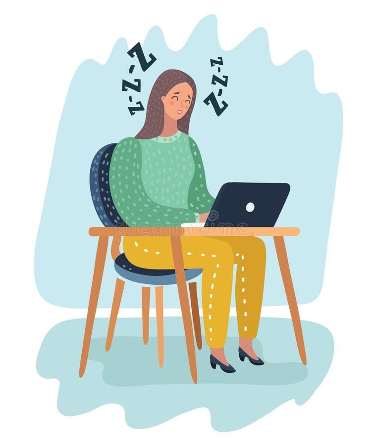 Trött sömnigt upptaget tecken för kvinna för kontorsarbetare royaltyfri illustrationer