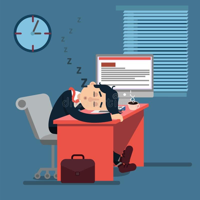 Trött sova affärsman på arbete stock illustrationer