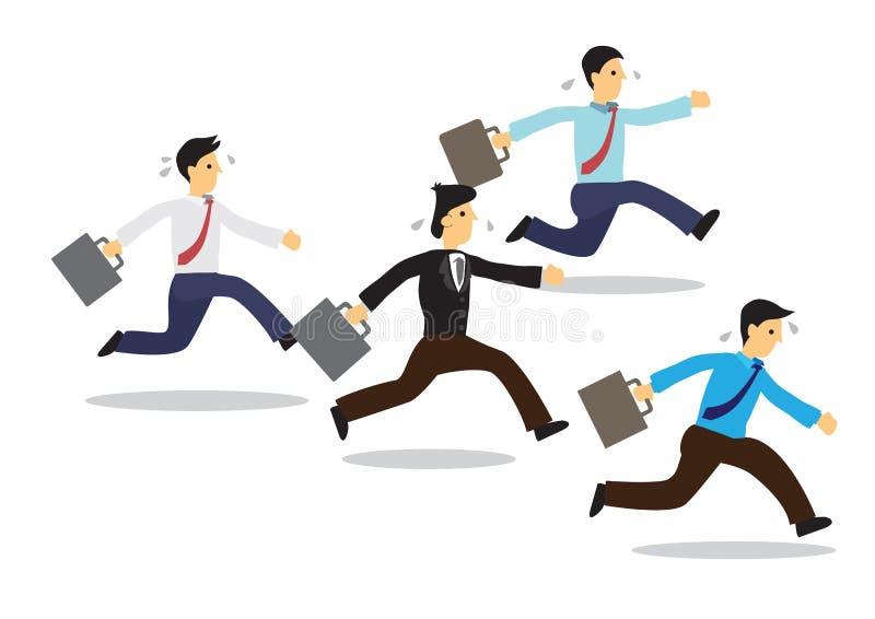 Trötta affärsmän som kör med deras portfölj stock illustrationer