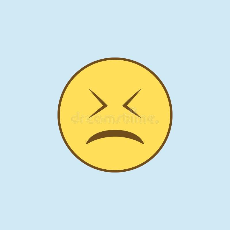 trötta 2 färgad linje symbol Enkel guling- och bruntbeståndsdelillustration trött design för begreppsöversiktssymbol från emojiup stock illustrationer