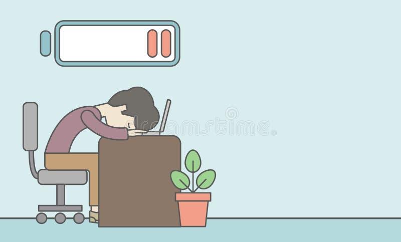 tröttad anställd royaltyfri illustrationer