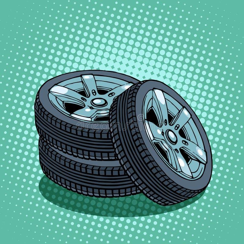 Tröttar det extra- hjulet royaltyfri illustrationer