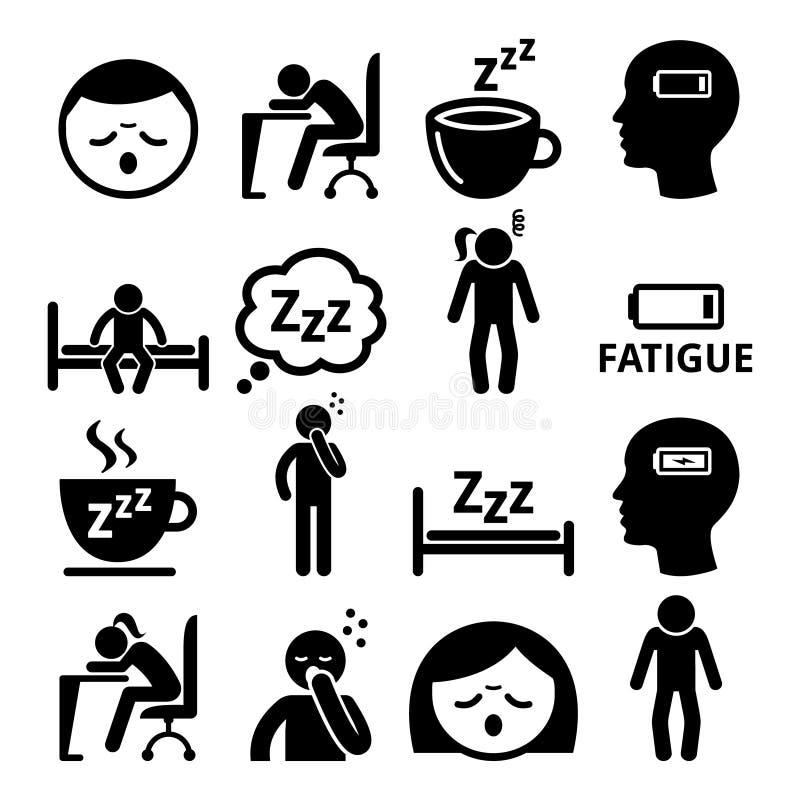 Trötthetssymboler, den tröttade sömniga mannen och kvinnan planlägger royaltyfri illustrationer