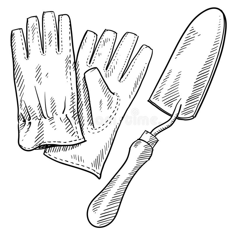 trädgårdsmästare s för teckningsutrustning stock illustrationer