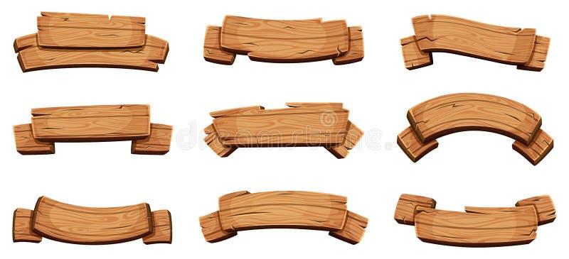 Tr?baner Lantliga skyltar och mall för design för vektor för band för riktningsbräden trätom vektor illustrationer