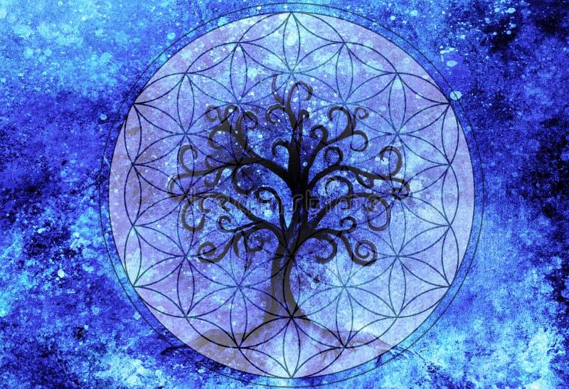 Tr?d av livsymbolet p? strukturerad dekorativ bakgrund, blomma av livmodellen, yggdrasil stock illustrationer