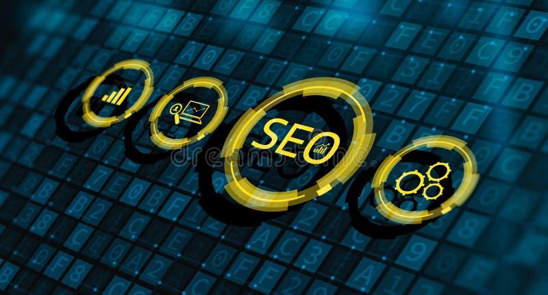 Tr?fego de classifica??o de SEO Search Engine Optimization Marketing ilustração royalty free