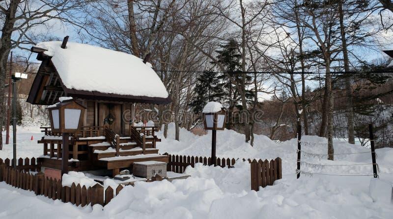 Tr?hus p? kusten av sj?n Toya i Hokkaido, Japan i vinter arkivfoton