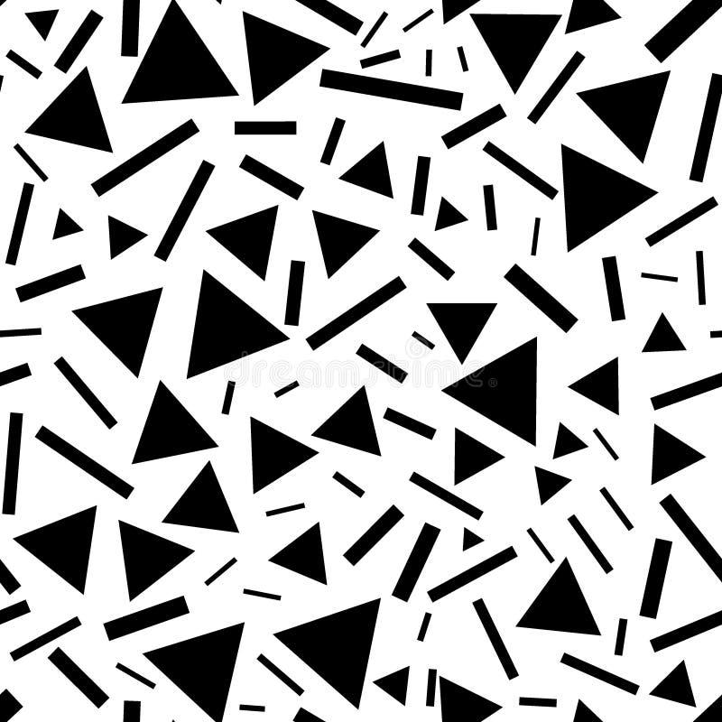 Tr?jboki i linia bezszwowy wz?r Monochromatyczni chaotyczni trójboki i krótkie linie ilustracji