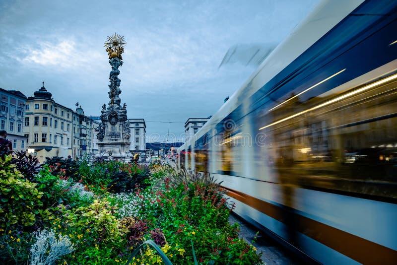 Tr?jcy kolumna w Linz, Austria fotografia stock