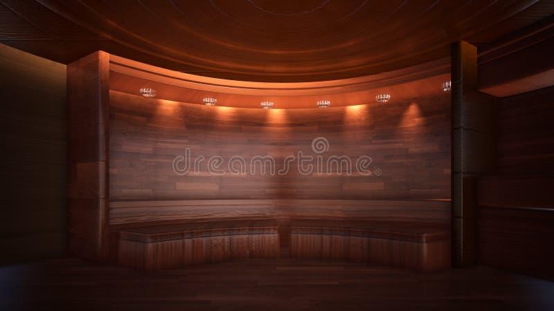Tr?jwymiarowy koloru t?o dla drewnianego TV pracownianego 3d renderingu ilustracja wektor