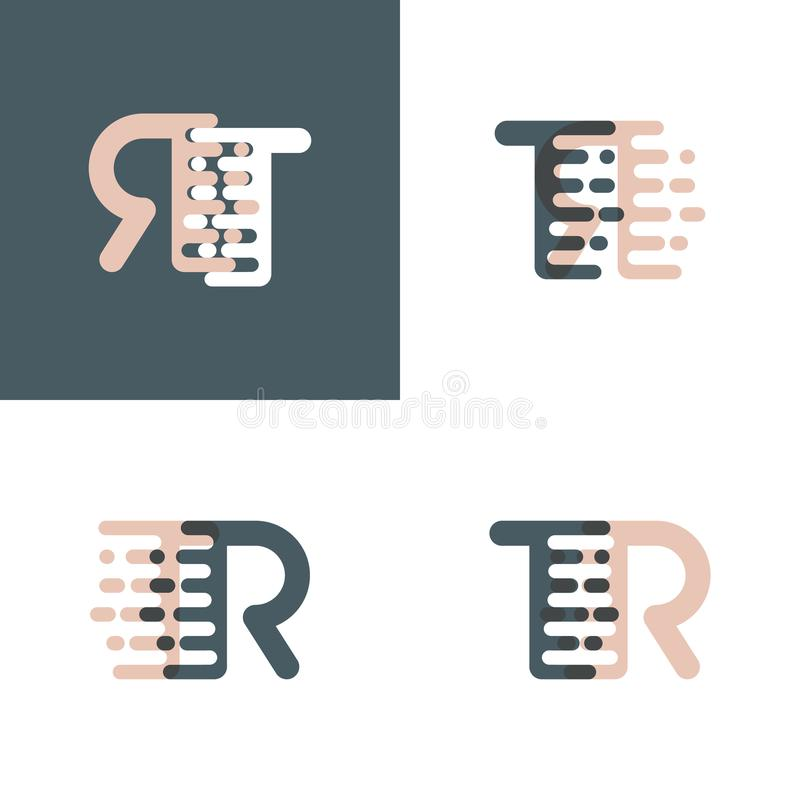 TR letters logo with accent speed pink and gray royalty free illustration