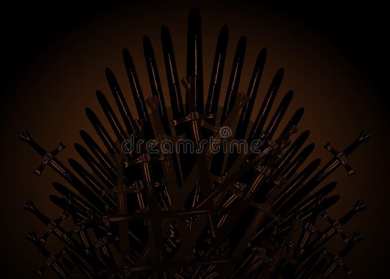 Tr?ne tir? par la main de fer des Moyens ?ges faits d'?p?es ou lames antiques en m?tal Chaise c?r?monieuse construite du brun fon illustration de vecteur